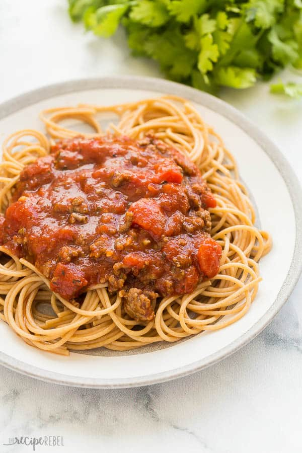 slow cooker spaghetti sauce plated