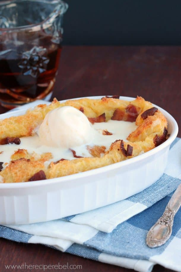 Maple Bacon Bread Pudding: for breakfast or dessert! www.thereciperebel.com