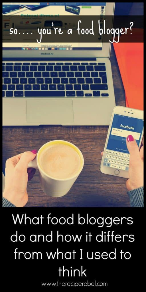 cover image for what food bloggers really do including laptop in front of woman holding a cell phone at a desk