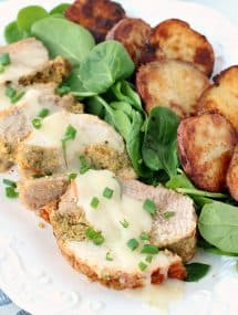 Cornbread-Stuffed Turkey Breast and Roasted Potatoes: a meal that's perfect for entertaining and easier than you think! The slow cooker and Granny's Poultry take all work out of this perfect holiday meal. Also a GIVEAWAY from Granny's Poultry!
