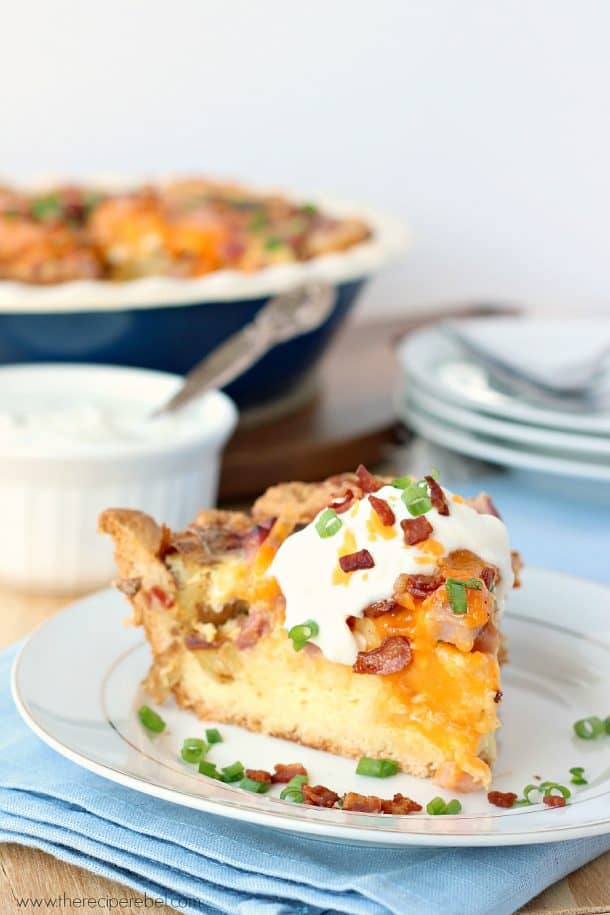 Easy Loaded Baked Potato Quiche: with a crust shortcut! It's easier than you think, and loaded with potatoes, ham, bacon and cheese! www.thereciperebel.com