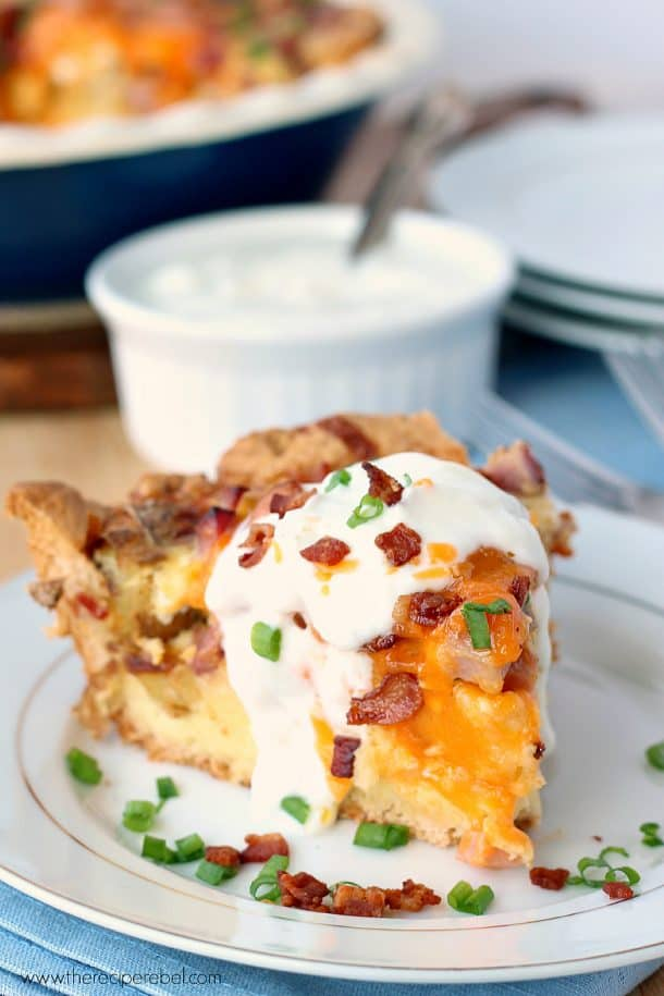Easy Loaded Baked Potato Quiche: with a crust shortcut! Easier than you think, and loaded with bacon, ham, potatoes and cheese. www.thereciperebel.com