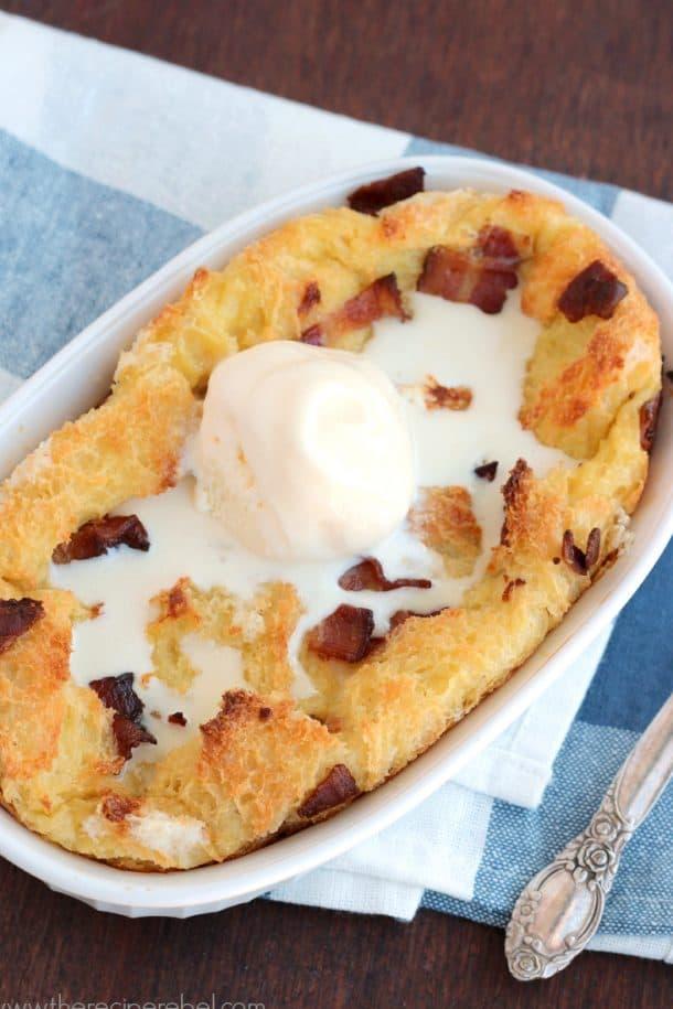 Maple Bacon Bread Pudding www.thereciperebel.com 3a