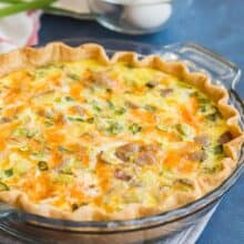 easy loaded baked potato quiche in pan