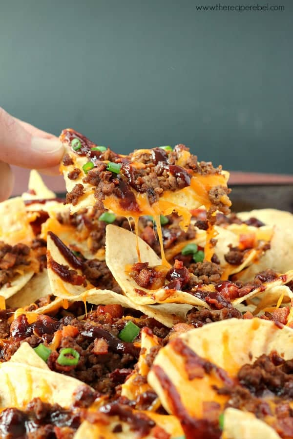 BBQ Bacon Cheeseburger Nachos www.thereciperebel.com 3sm