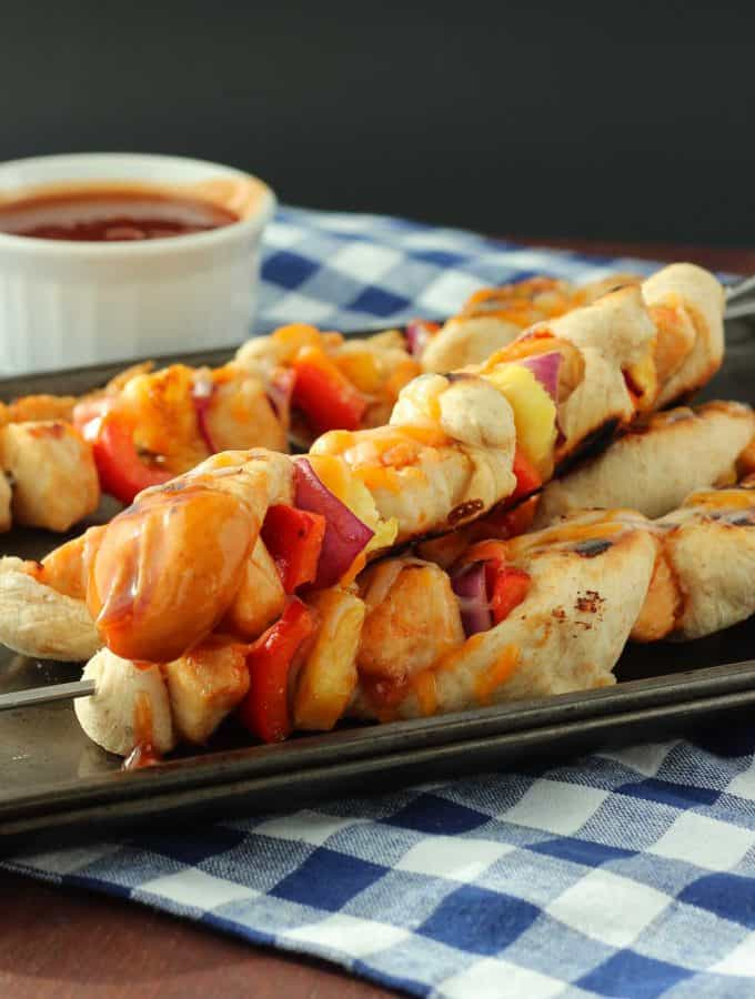 BBQ Chicken Pizza Kebabs