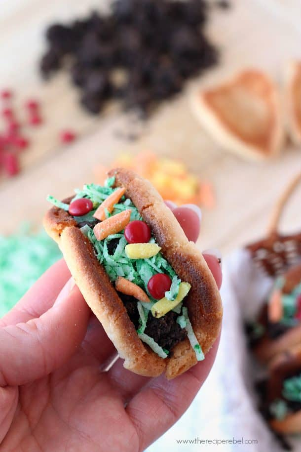 hand holding sugar cookie taco made with cookies