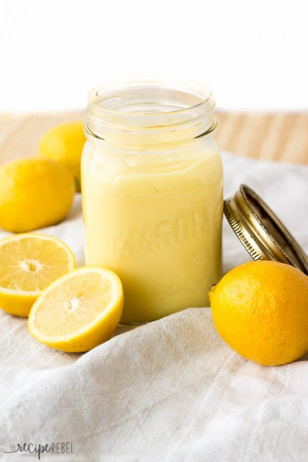 Easy Homemade Lemon Curd: made completely in one pot. The easiest method! The perfect addition of fresh citrus to any dessert! www.thereciperebel.com