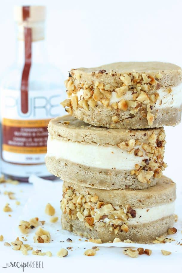 Easy homemade, no-churn maple ice cream sandwiched between 2 soft and chewy brown sugar blondie layers and coated in toasted walnuts – the perfect summer treat!