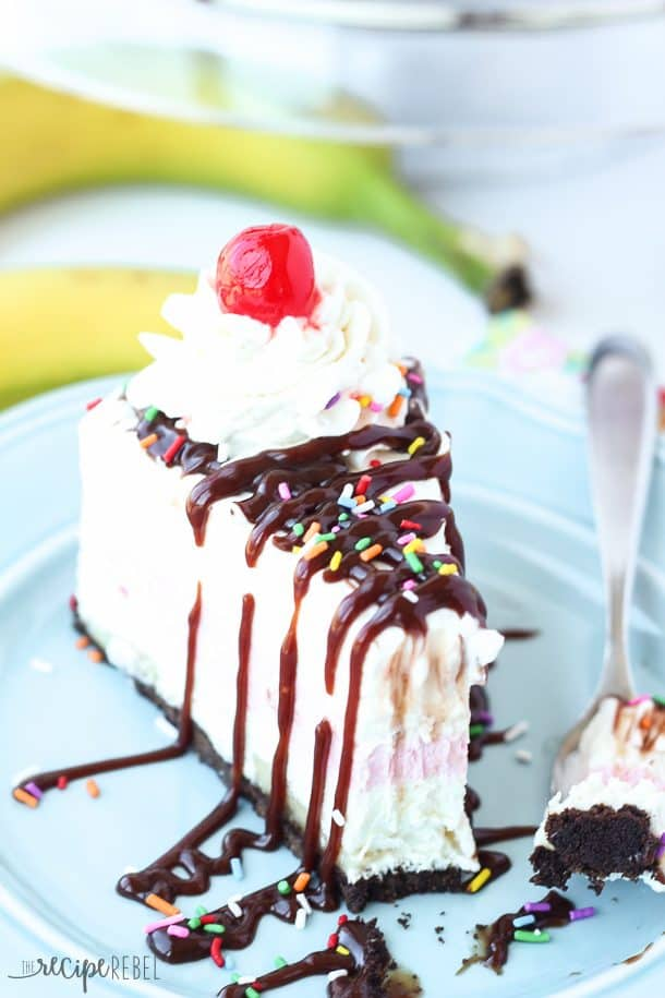 No-Bake Banana Split Cheesecake: 3 fruity cheesecake layers make up ...