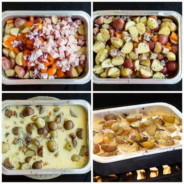 step by step images of grilled breakfast casserole