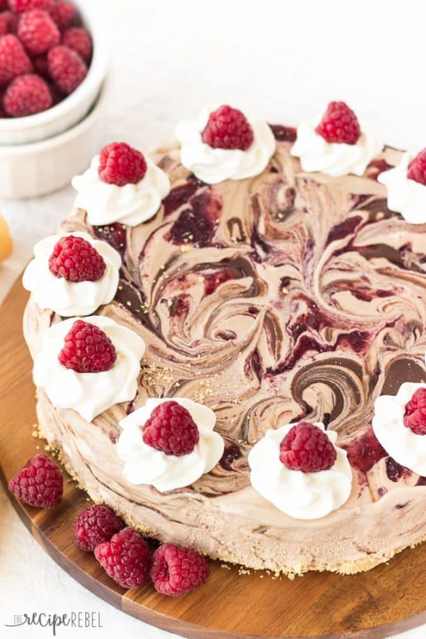 An easy ice cream cake made 3-ingredient no-churn chocolate ice cream swirled with Nutella and raspberry preserves. All on a crust made with crushed ice cream cones! The perfect simple, no-bake summer dessert! www.thereciperebel.com