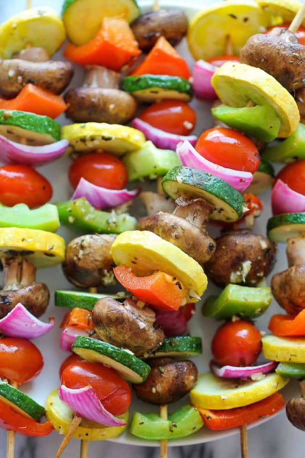 vegetable kabobs with mushroom squash tomato peppers and zucchini