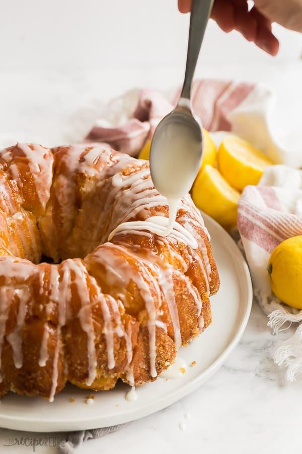 lemon monkey bread drizzled with glaze