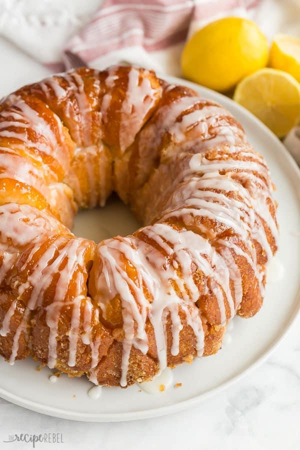 lemon monkey bread finished with glaze