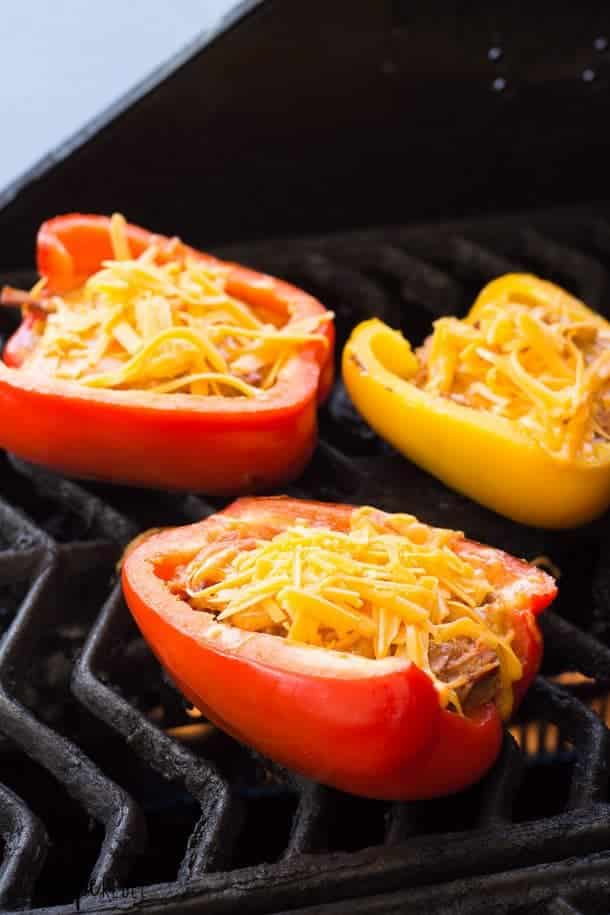 pulled pork stuffed peppers on the grill