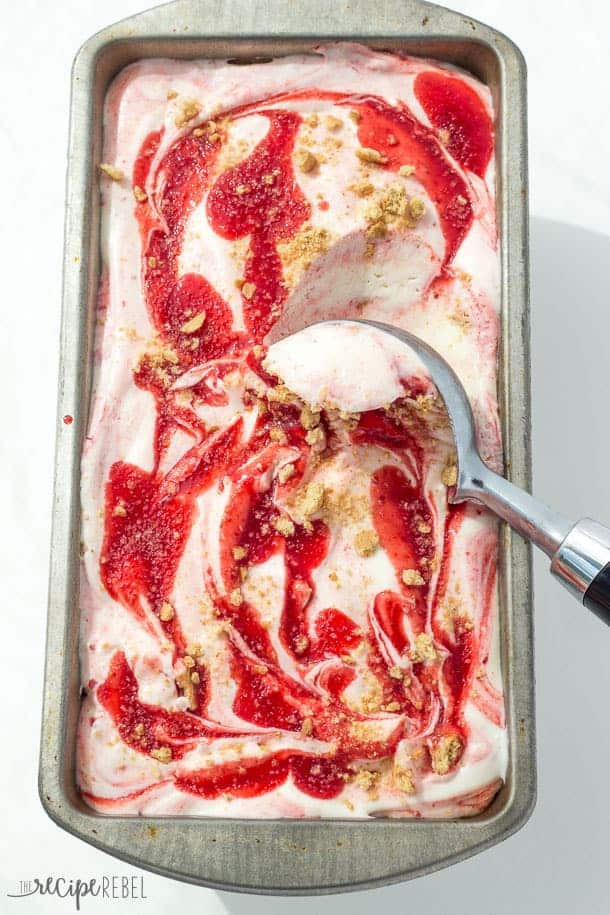 Smooth, creamy No Churn Cherry Cheesecake Ice Cream made with only 5 ingredients! Cherry Cheesecake ice cream was always one of my favorites growing up, and I think this homemade version is even better than the ice cream parlour! Mix up the pie filling flavor to easily customize. www.thereciperebel.com