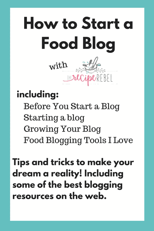 title image for how to start a food blog including the recipe rebel logo and key points