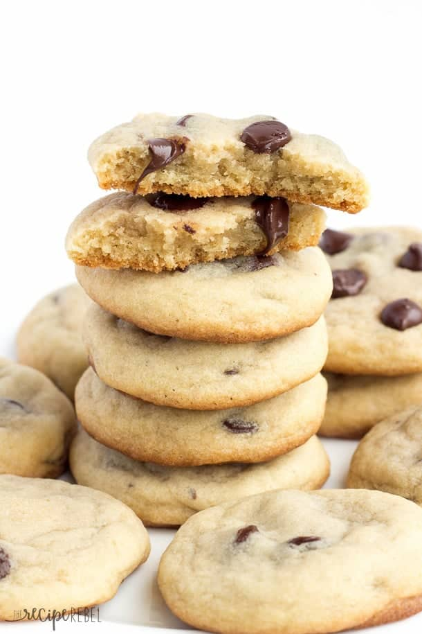 Mom's Chocolate Chip Cookies: Soft, chewy chocolate chip cookies that are never fluffy or cakey. My mom's recipe that she's been making ever since I was a little girl! You know they've got to be good :) www.thereciperebel.com