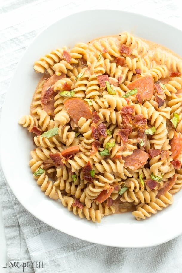 overhead image of pepperoni pizza mac and cheese in white bowl