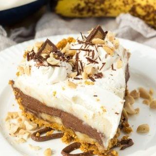 No Bake Reese Peanut Butter Chocolate Banana Cream Pie