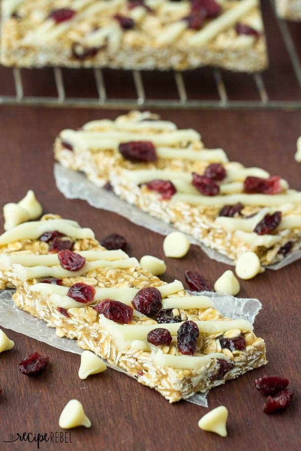 No Bake White Chocolate Granola Bars: A super simple back to school ...