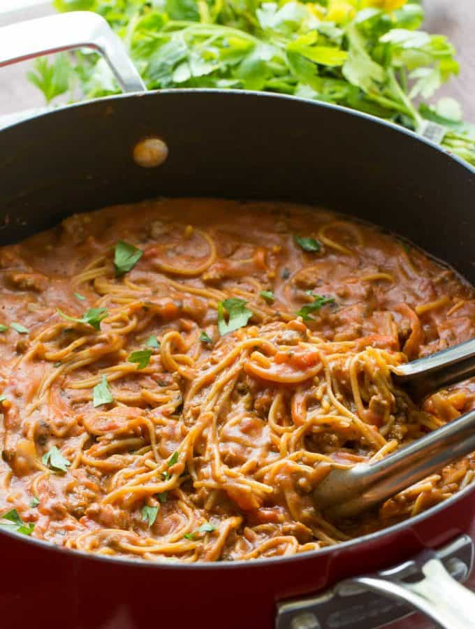 Healthy One Pot Spaghetti and Meat Sauce