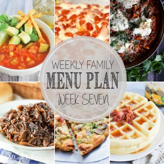 The meals you need for the week including Veggie Tortilla Soup with Quinoa, Pizza Casserole, Barbecue Chicken Pizza Skillet Lasagna, Slow Cooker Honey Balsamic Pulled Pork, Creamy Mushroom and Chicken Pizza with Bacon and Basil, Maple Bacon Yeast Waffles, Chocolate Peanut Butter Bacon Cake.