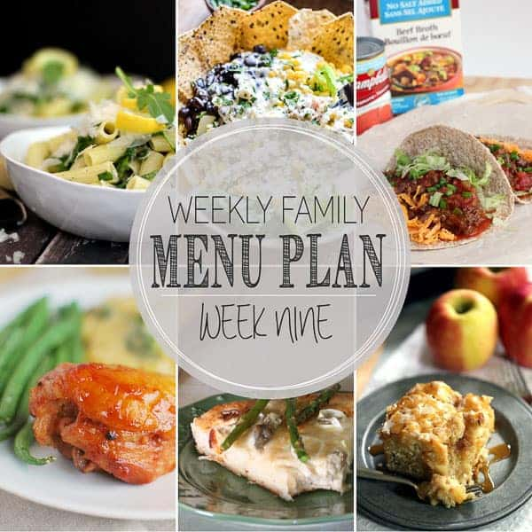 The meals you need for the week! Including Lemon Arugula Pasta, Classic Weeknight Tacos, Summer Chicken Taco Salad with Jalapeno Ranch, Slow Cooker Huli Huli Chicken, Asparagus and Leek Skillet Pizza, Caramel Apple Cheesecake Coffee Cake, No Bake Turtle Cookies.