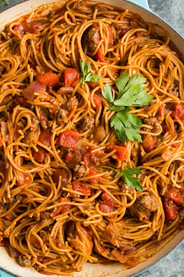 one pot spaghetti close up