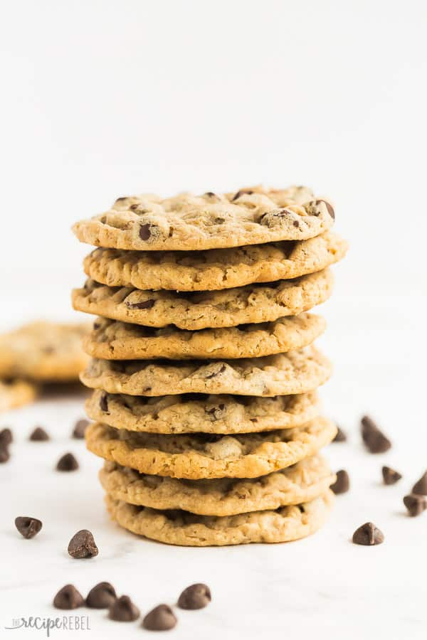 peanut butter oatmeal chocolate chip cookies stack on white background