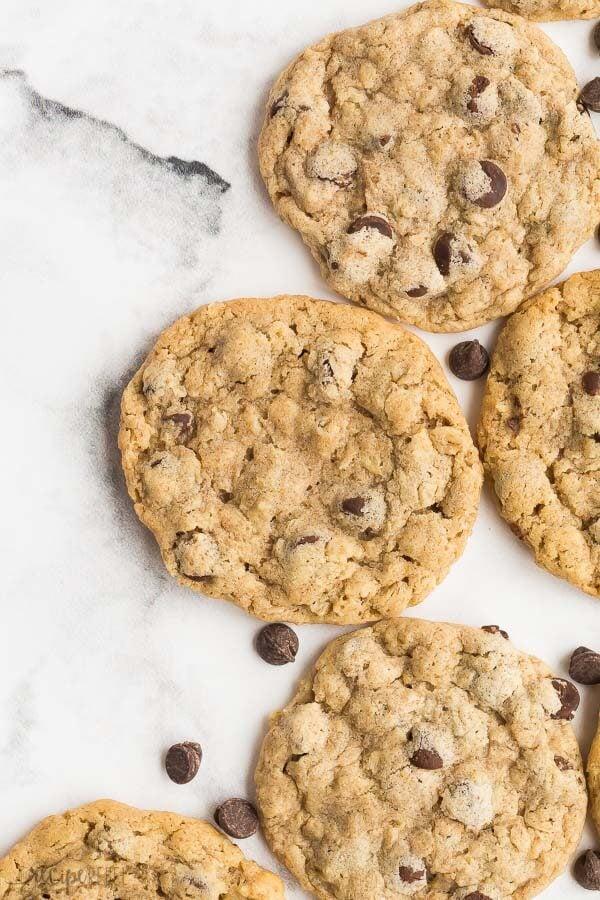 peanut butter oatmeal cookies overhead close up