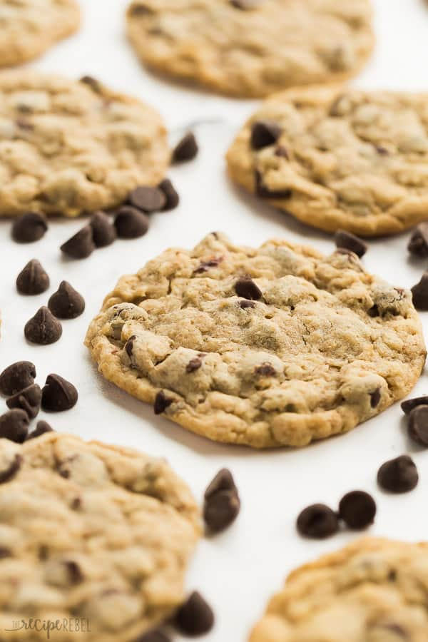 peanut butter oatmeal chocolate chip cookies close up