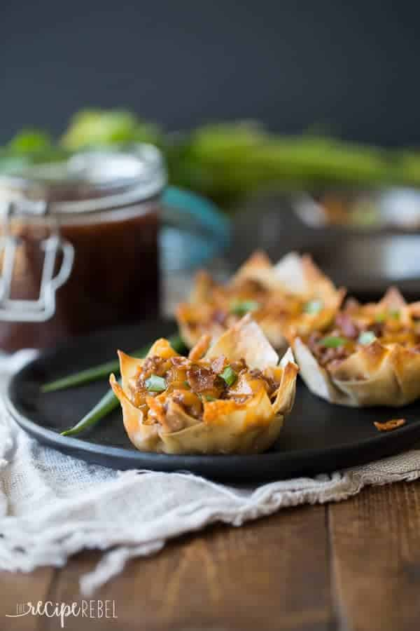Bacon, beef, barbecue sauce and cheese stuffed into a wonton wrapper and baked until crispy -- the perfect finger food for game day or any party!
