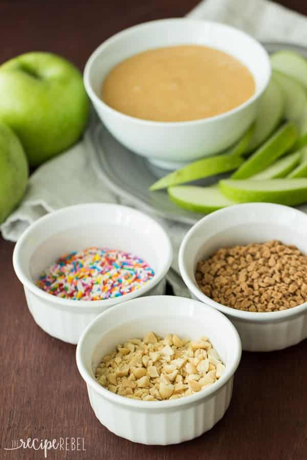 An easy, 3 ingredient caramel fruit dip and topping suggestions to make your own gourmet caramel apple bar! A fun fall treat!