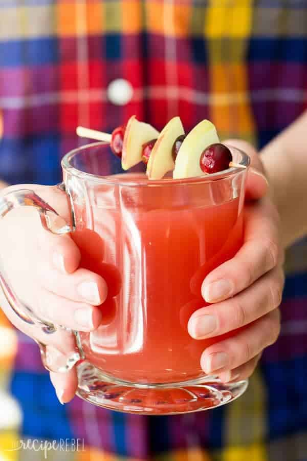 mug of cranberry apple cider in hands with toothpick across holding apples and cranberries