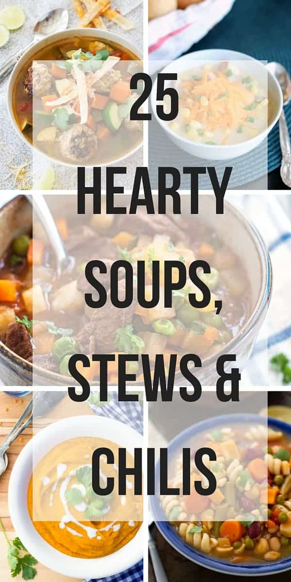 collage image of soups stews and chilis with text overlay