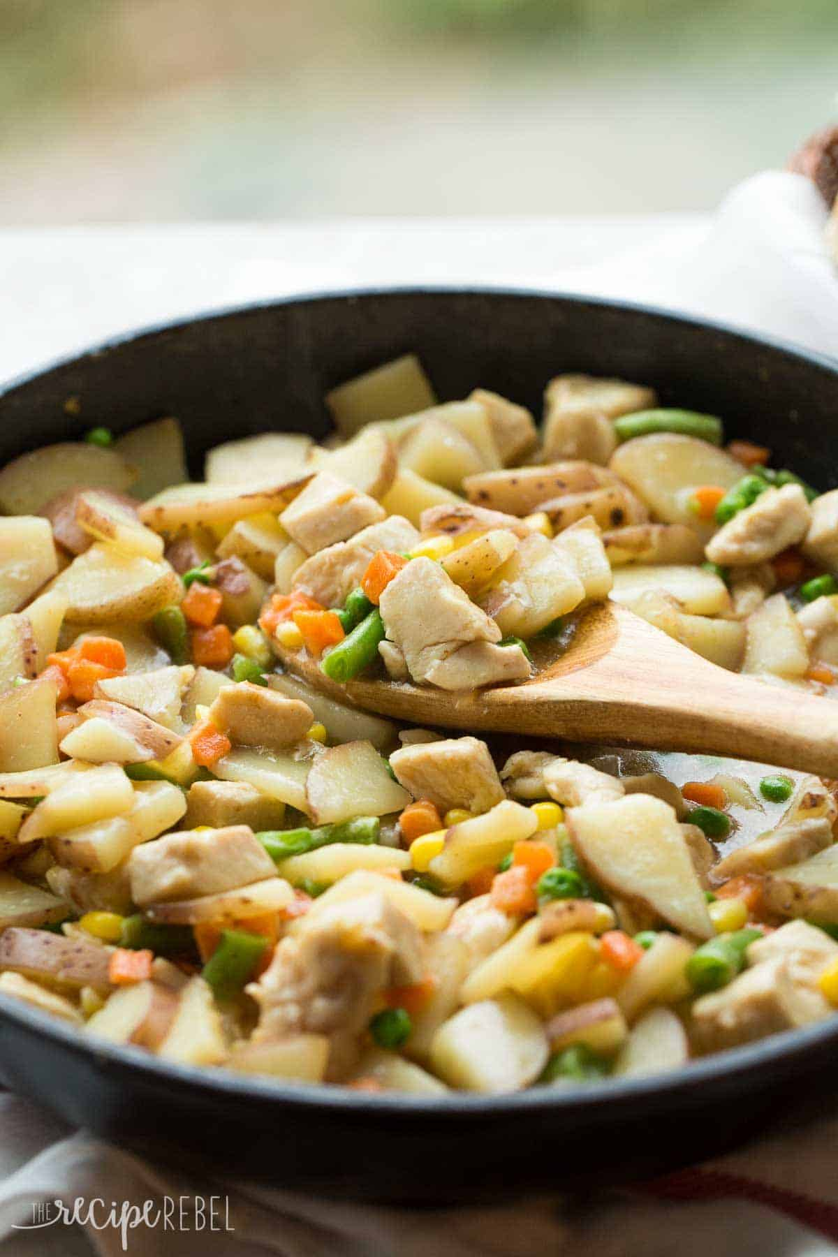 A hearty dinner in one skillet — chicken or turkey, potatoes, vegetables, and gravy in one pot and 30 minutes! This Skillet Chicken Stew is perfect for a busy weeknight!