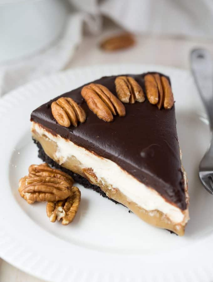 Almost No Bake Turtle Cheesecake