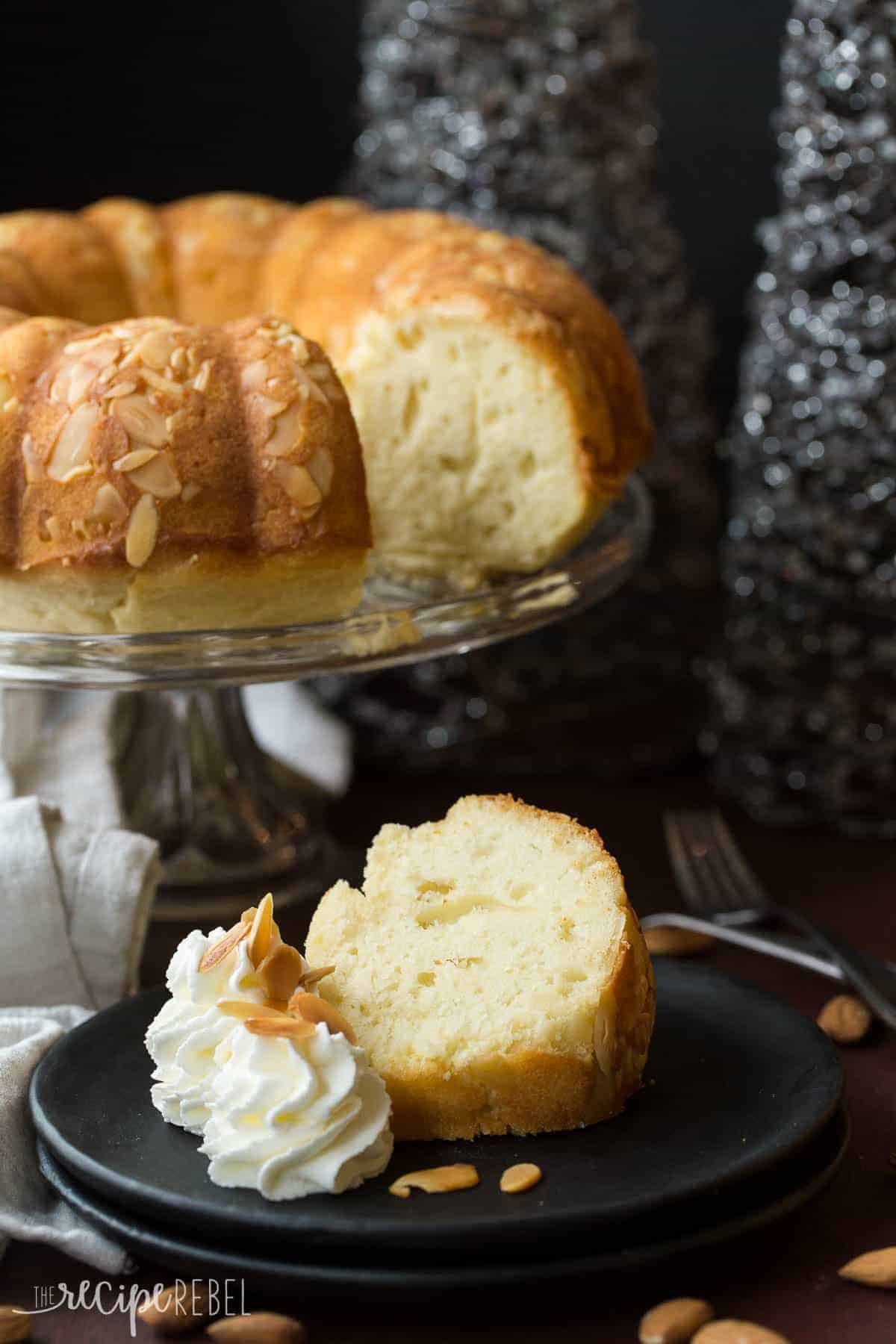 A rich, moist Almond Pound Cake that's made better for you with yogurt and reduced sugar! A fun New Years dessert with one whole almond baked in -- whoever gets the almond will have one year good luck!