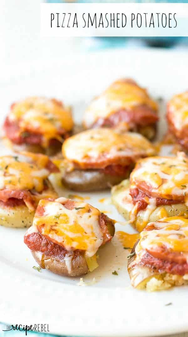 These Pizza Smashed Potatoes are made in the microwave (though you could do them in the oven if you wanted!) and are only 4 simple ingredients. Plus they're easy enough for the kids to make themselves!