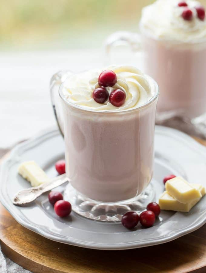 Slow Cooker Cranberry White Hot Chocolate
