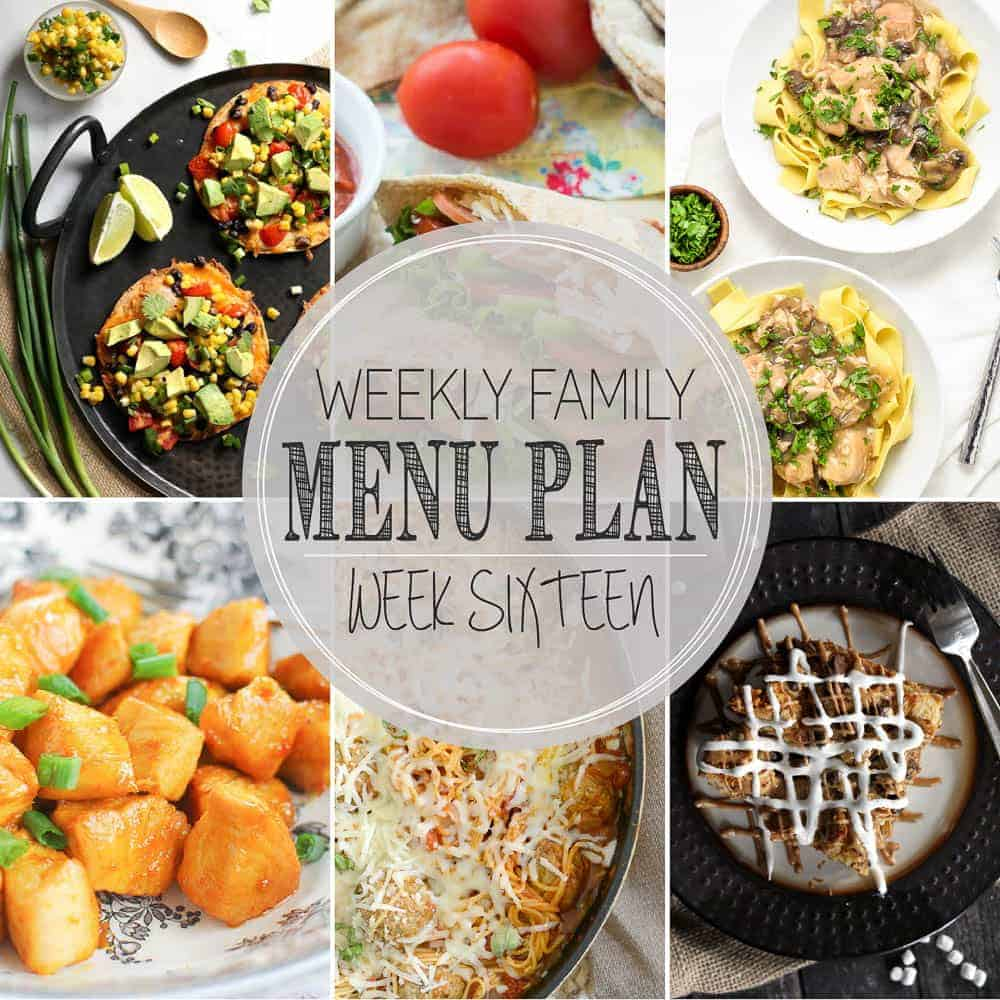 collage image for weekly menu plan sixteen with multiple images and text overlay
