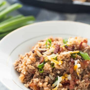 This BBQ Bacon Cheeseburger Rice is an easy, one pot meal made with simple ingredients that the whole family will love!