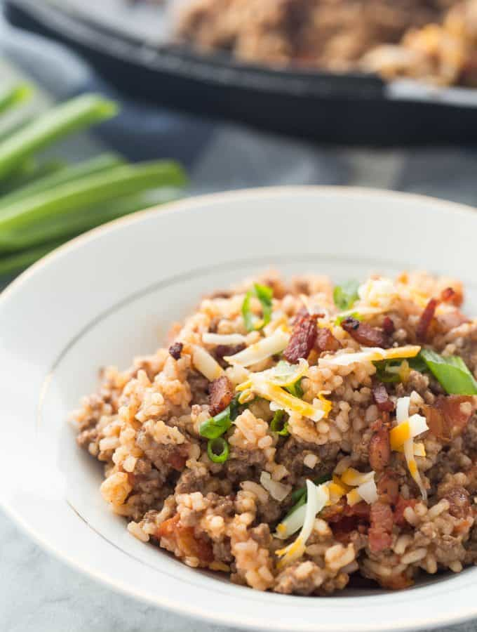 One Pot BBQ Bacon Cheeseburger Rice (30 Minute Thursday!)