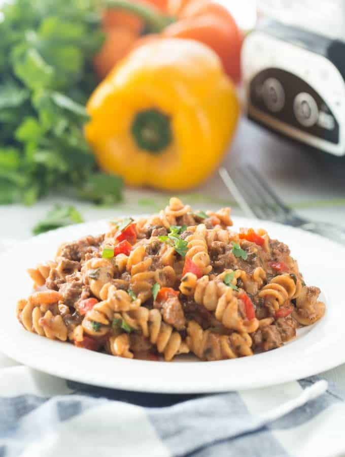 Healthier Slow Cooker Hamburger Helper