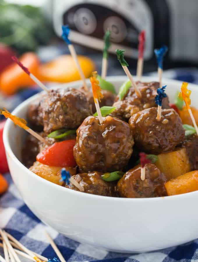 Slow Cooker Pineapple Brown Sugar Meatballs