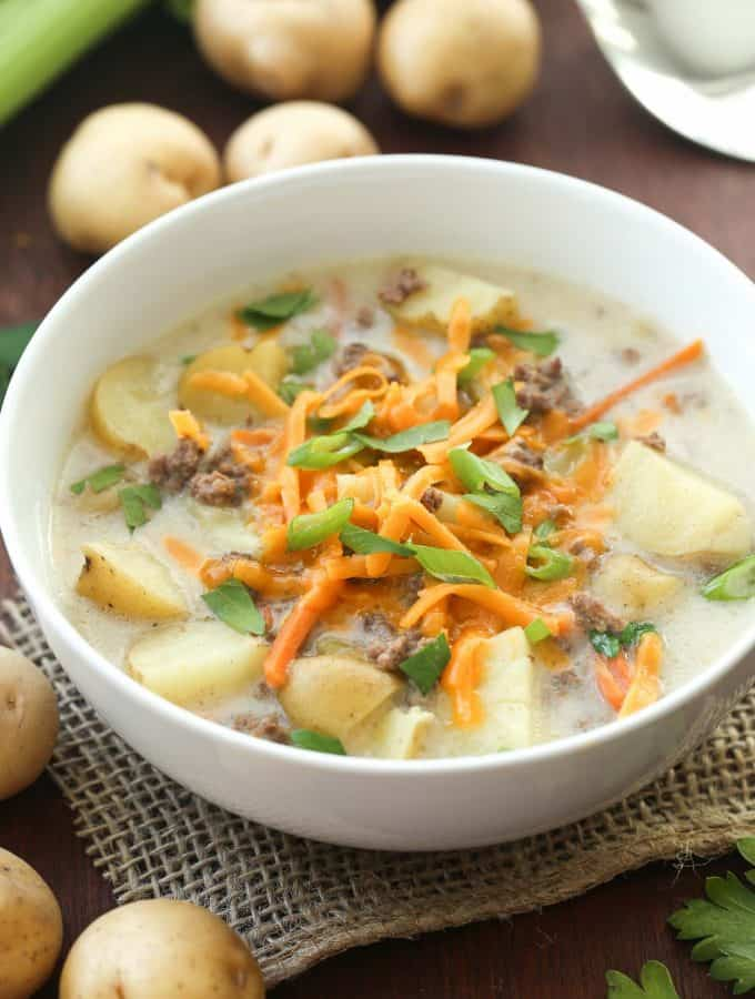 Lightened Up Slow Cooker Cheeseburger Soup