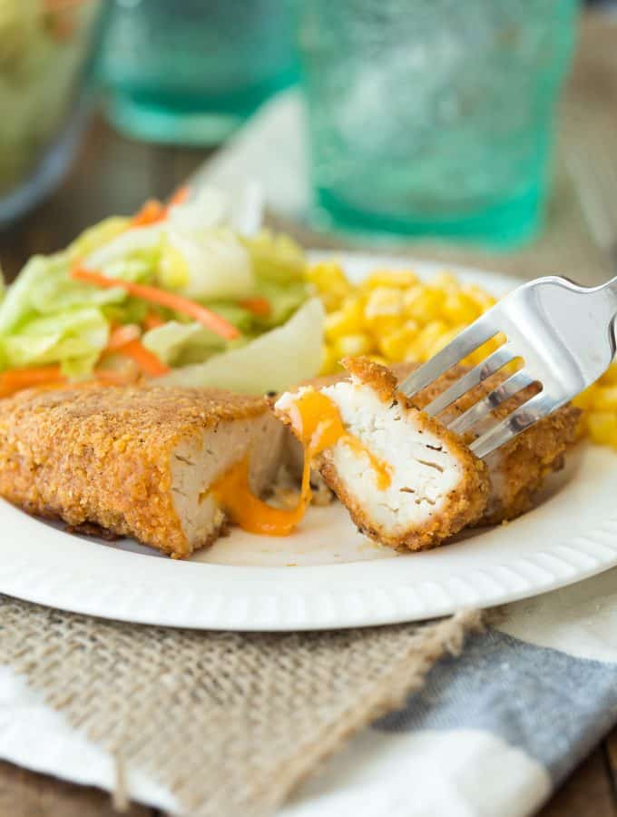 Nacho Cheese Stuffed Oven Fried Chicken