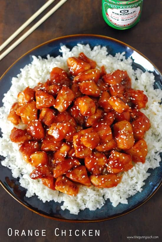 overhead image of orange chicken on white rice